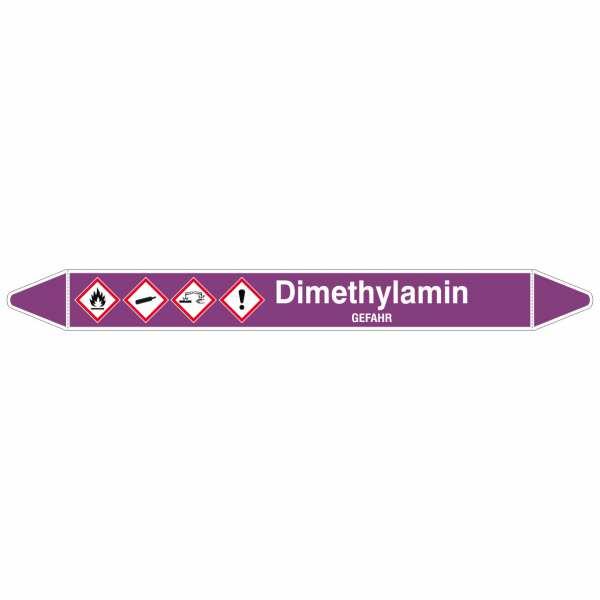 Brady Rohrmarkierer in lila mit Text Dimethylamin - GEFAHR