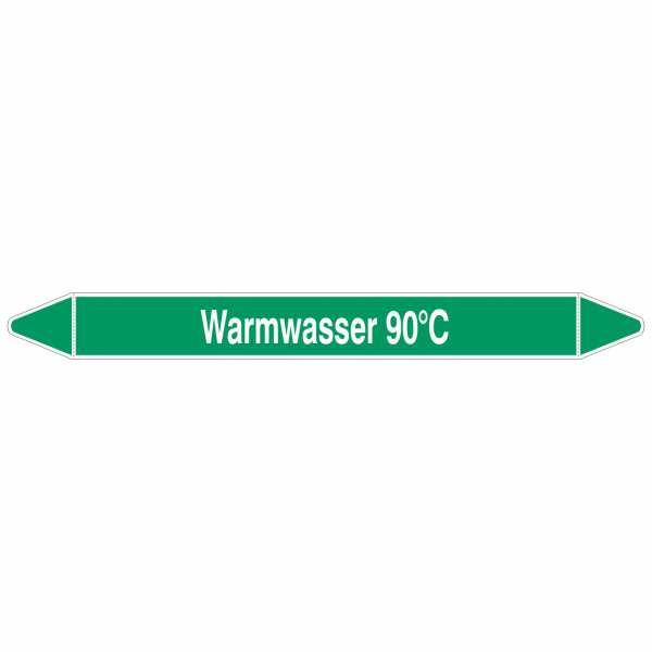 Brady Rohrmarkierer mit Text Warmwasser 90° C