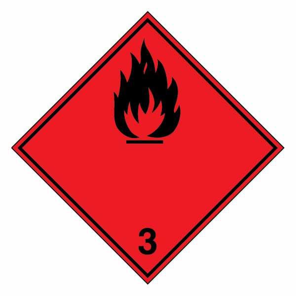 Klasse 3 - Entzündbare flüssige Stoffe (schwarze Flamme)
