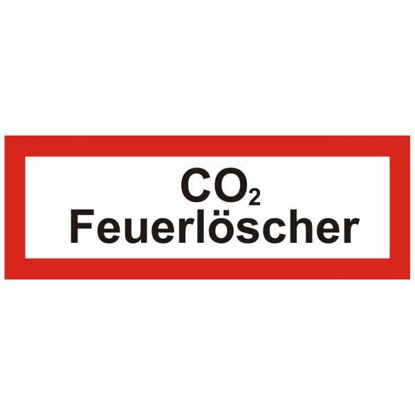 Brandschutzschild mit Text CO₂ Feuerlöscher