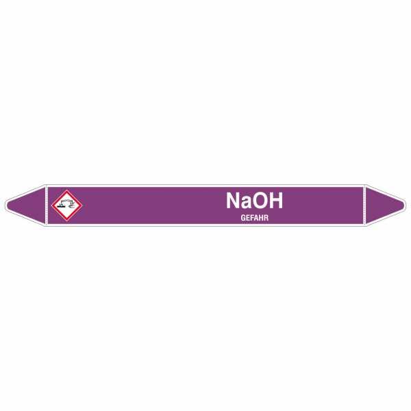 Brady Rohrmarkierer mit Text NaOH - GEFAHR