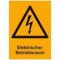 Kombischild Warnzeichen mit Text Elektrischer Betriebsraum, 264x370 mm Kunststoff