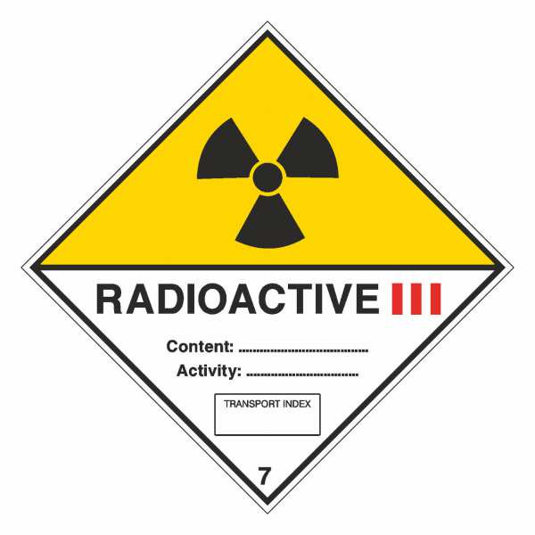 Gefahrzettel Radioaktive Stoffe, Kategorie III Klasse 7C