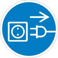 Gebotszeichen Vor Öffnen Netzstecker ziehen nach BGV A8 (M13)