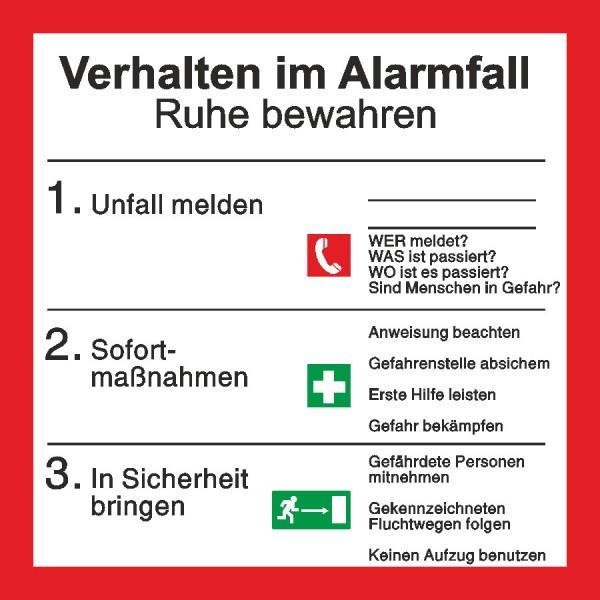 Brandschutzaushang Verhalten im Alarmfall mit Symbolen nach BGV A8