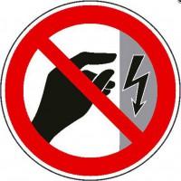 Verbotszeichen Nicht berühren, Gehäuse unter Spannung  nach BGV A8 (P09)