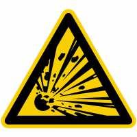 Warnung vor explosionsgefährlichen Stoffen nach BGV A8 (W02)