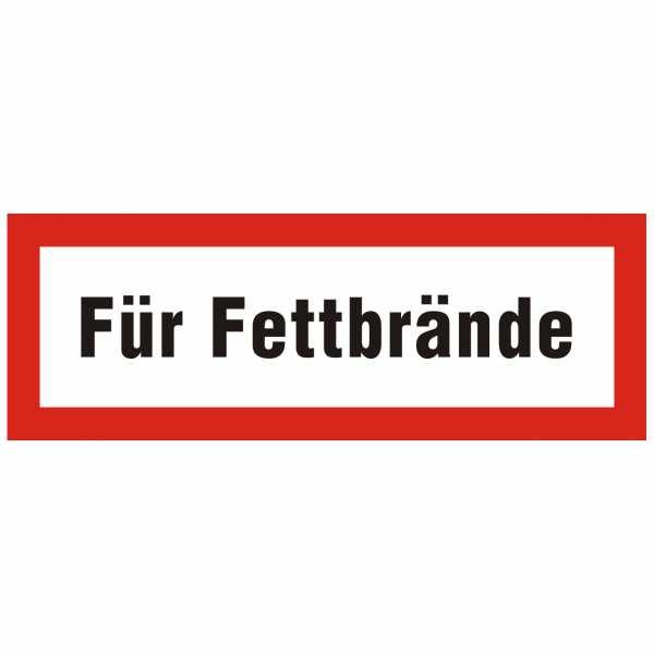 Brandschutzschild mit Text Für Fettbrände