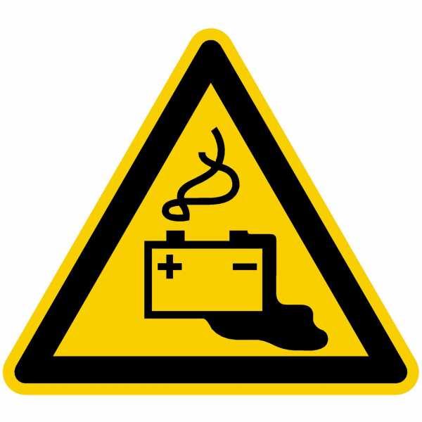 Warnzeichen Warnung vor Gefahren durch Batterien nach BGV A8 (W20)