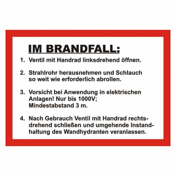 Handhabungsfolie Wandhydrant mit formfesten Schlauch nach DIN 14461-1:2016-10