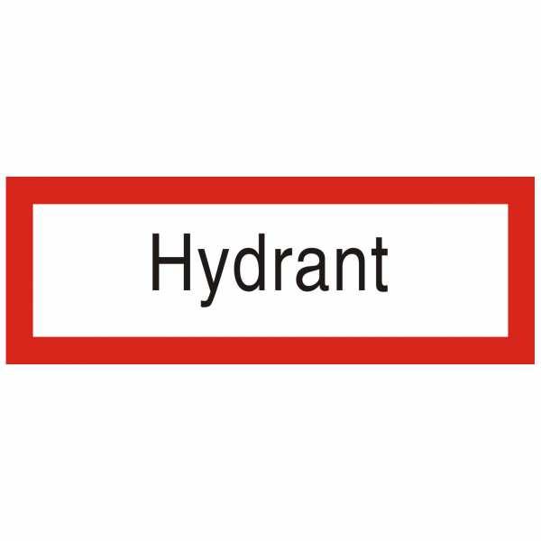 Brandschutzschild mit Text Hydrant