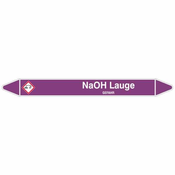 Brady Rohrmarkierer mit Text NaOH Lauge - GEFAHR