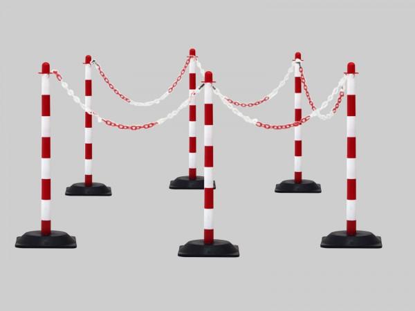 Kettenpfosten-Set aus Kunststoff rot-weiß