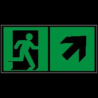 Rettungszeichen Rettungsweg rechts aufwärts nach ISO 7010 (E002) ASR A1.3