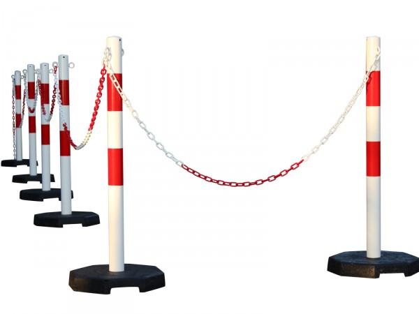Kettenpfosten 6er-Set aus Stahl, rot-weiß