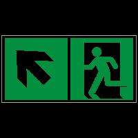 Rettungszeichen Rettungsweg - Notausgang links aufwärts nach ISO 7010 (E001) / ASR A1.3