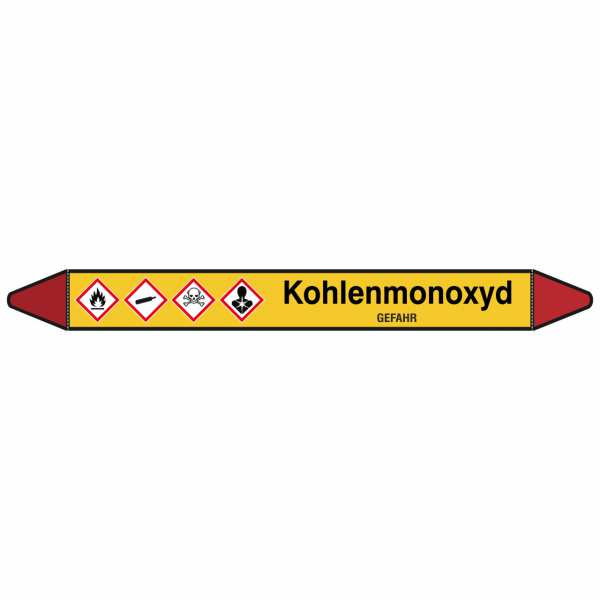 Brady Rohrmarkierer mit Text Kohlenmonoxid - GEFAHR