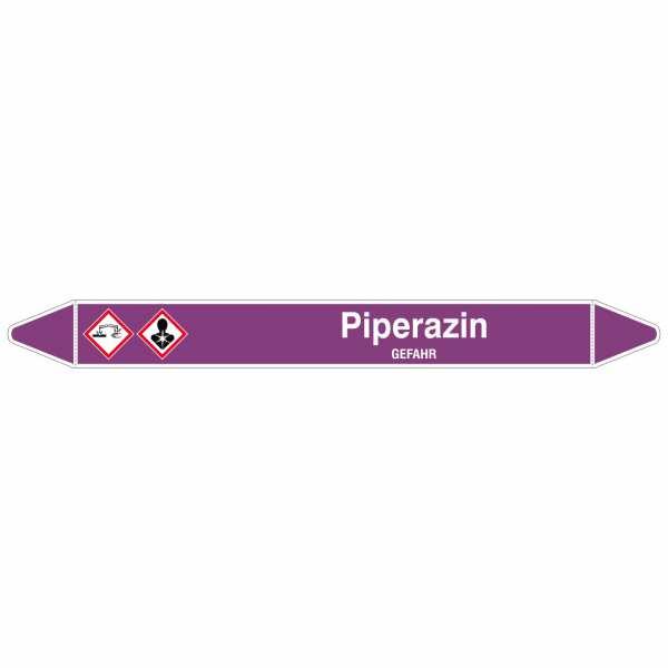 Brady Rohrmarkierer mit Text Piperazin - GEFAHR
