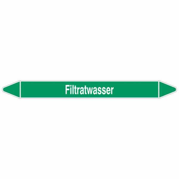 Brady Rohrmarkierer mit Text Filtratwasser