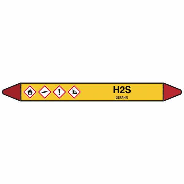 Brady Rohrmarkierer mit Text H2S - GEFAHR