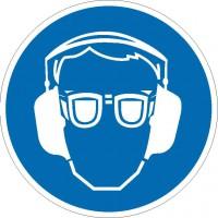 Gebotszeichen Gehör- und Augenschutz benutzen