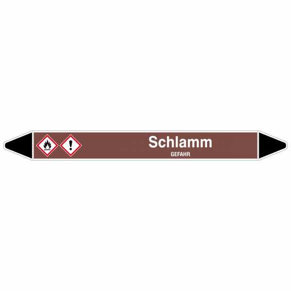 Brady Rohrmarkierer mit Text Schlamm - GEFAHR, 250 x 26 mm
