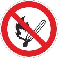 Verbotszeichen Feuer, offenes Licht und Rauchen verboten nach BGV A8 (P02)