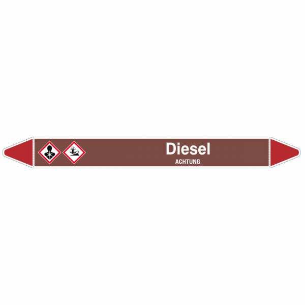 Brady Rohrmarkierer mit Text Diesel - ACHTUNG