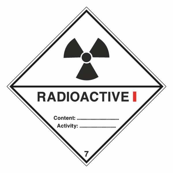 Unterklasse 7A - Radioaktive Stoffe, Kategorie I