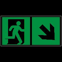 Rettungszeichen Rettungsweg - Notausgang rechts abwärts nach ISO 7010 (E002) / ASR A1.3