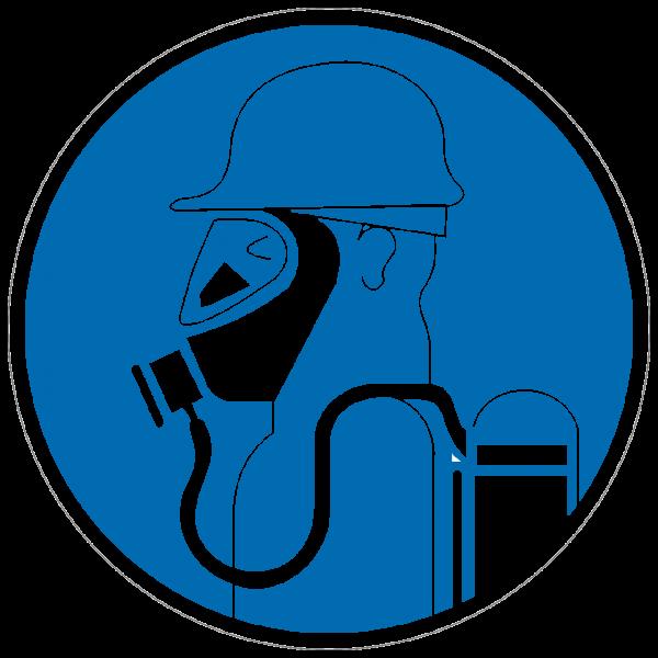 Gebotszeichen Schweres Atemschutzgerät benutzen