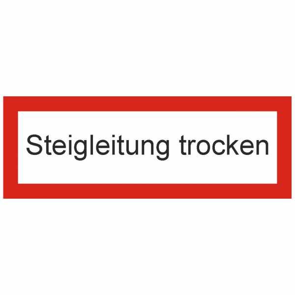 Brandschutzschild mit Text Steigleitung trocken