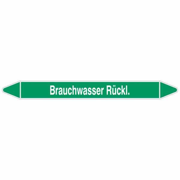 Brady Rohrmarkierer mit Text Brauchwasser Rückl.