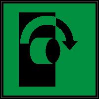 Rettungszeichen Öffnung durch Rechtsdrehung nach ISO 7010 (E019) / ASR A1.3