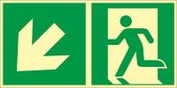 Rettungszeichen Rettungsweg - Notausgang links abwärts nach ISO 7010 (E001) / ASR A1.3