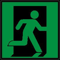 Rettungszeichen Notausgang rechts nach ISO 7010 (E002) / ASR A1.3