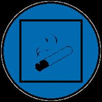 Gebotszeichen Rauchen innerhalb des begrenzten Raumes gestattet