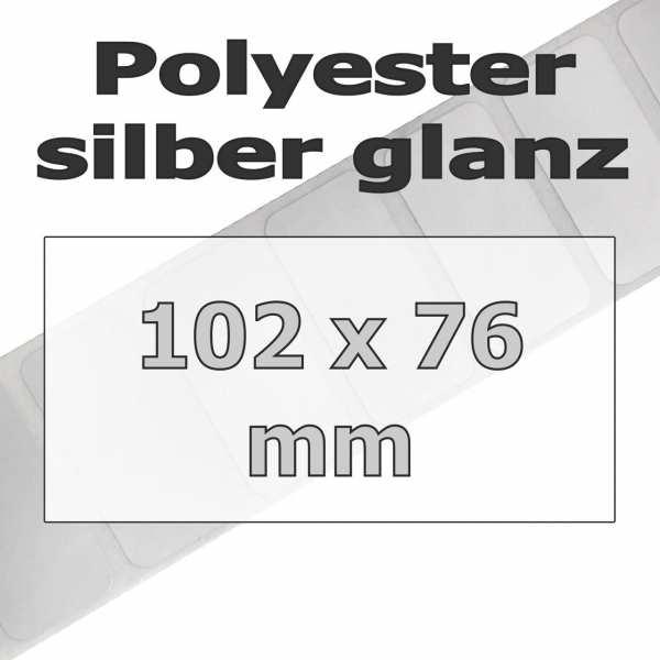 Polyester-Etiketten - silber glanz (1890 Stk. auf Rolle)