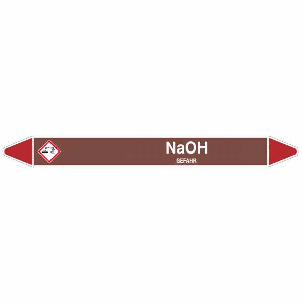 Brady Rohrmarkierer in braun mit Text NaOH - GEFAHR