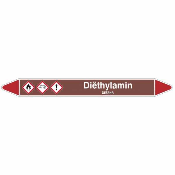 Brady Rohrmarkierer mit Text Diëthylamin - GEFAHR