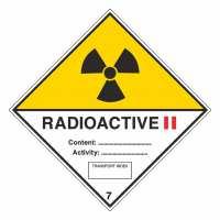 Gefahrzettel Radioaktive Stoffe, Kategorie II Klasse 7B