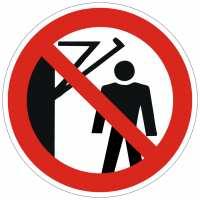 Verbotszeichen Hinter den Schwenkarm treten verboten nach ISO 7010 (D-P023) / DIN 4844-2