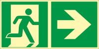 Rettungszeichen Rettungsweg - Notausgang rechts nach ISO 7010 (E002) / ASR A1.3