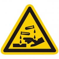 Warnzeichen Warnung vor ätzenden Stoffen nach ISO 7010 (W023)