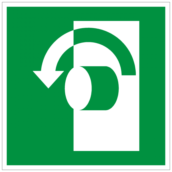 Rettungszeichen Öffnung durch Linksdrehung nach ISO 7010 (E018) / ASR A1.3