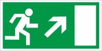 Rettungszeichen Rettungsweg rechts aufwärts nach BGV A8 (E13)
