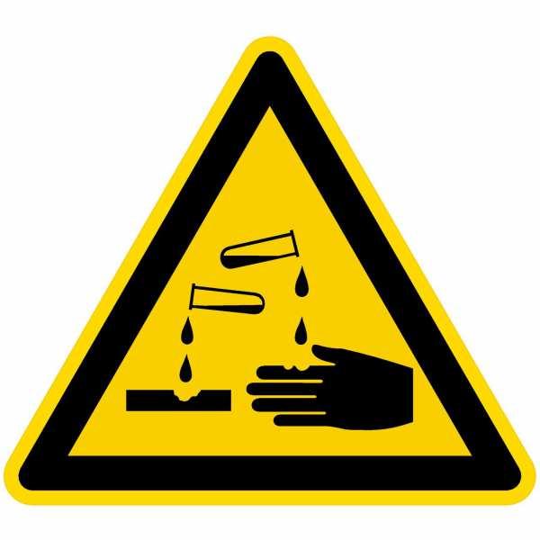 Warnzeichen Warnung vor ätzenden Stoffen nach BGV A8 (W04)