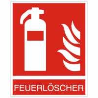 Brandschutzzeichen Feuerlöscher nach ISO 7010 (F001) mit Text