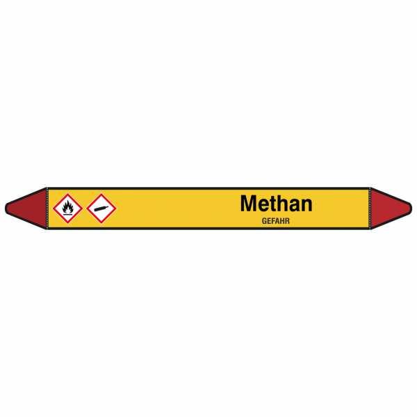 Brady Rohrmarkierer mit Text Methan - GEFAHR