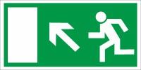 Rettungszeichen Rettungsweg links aufwärts nach BGV A8 (E13)